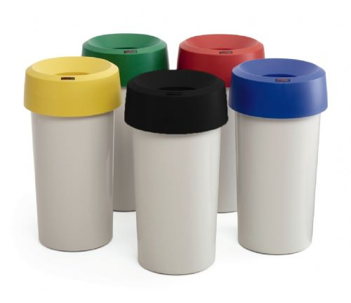 50 litre Plastic bin, grey base with coloured tops